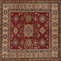 "Caucasian square 6' 0"" by 6' 1"" rug with geometric pattern from Afghanistan"