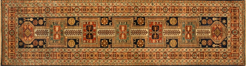 "Kazak runner 2' 8"" by 9' 9"" rug with geometric pattern from Afghanistan - red & ivory"
