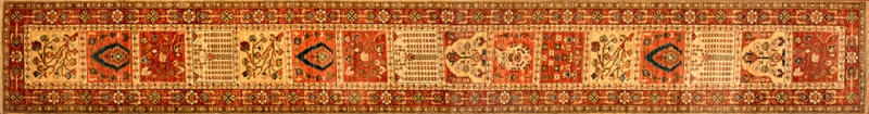 "Bakhtiari runner 2' 5"" x 19' 8"" rug with a geometric pattern from Afghanistan"