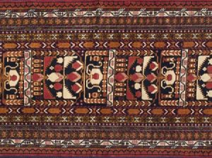 "Balouch runner 3' 0"" by 9' 9"" rug with geometric pattern from Pakistan - Light Blue & Rust"