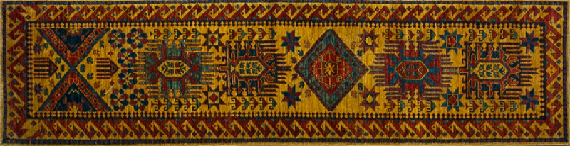 "Kazak runner 2' 6"" by 9' 8"" rug with geometric pattern from Afghanistan - mustard & rust"