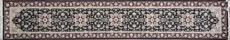 "Tabriz runner 2' 6"" by 14' 0"" rug with all-over pattern from China - Black & red"