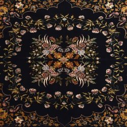 "Tabriz square 4' 11"" by 5' 0"" rug with floral pattern from Persia-Iran - Wool & Silk"