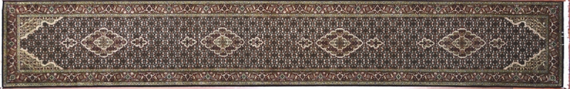 "Tabriz runner 2' 6"" by 16' 2"" rug with medallion pattern from India - Black & Red"