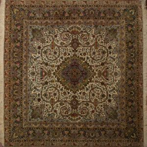 "Tabriz square 13' 2"" by 13' 5"" rug with floral pattern from Persia-Iran - Wool & Silk"