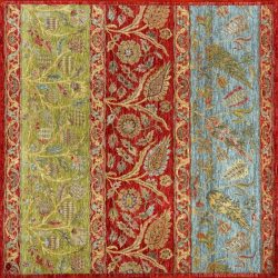 """Agra square 5' 5"""" by 5' 5"""" rug from India - Red, green, blue"""