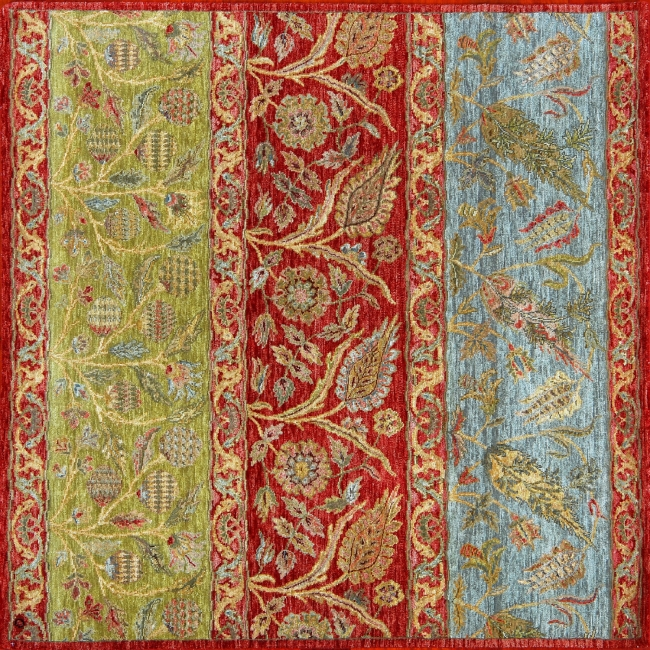 "Agra square 5' 5"" by 5' 5"" rug from India - Red, green, blue"