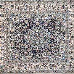 "Nain square 6' 4"" by 6' 10"" rug with medallion pattern from Persia-Iran - Wool & Silk"