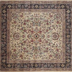 "Nain square 8' 1"" by 8' 2"" rug with floral pattern from Pakistan - Ivory & Navy Blue"
