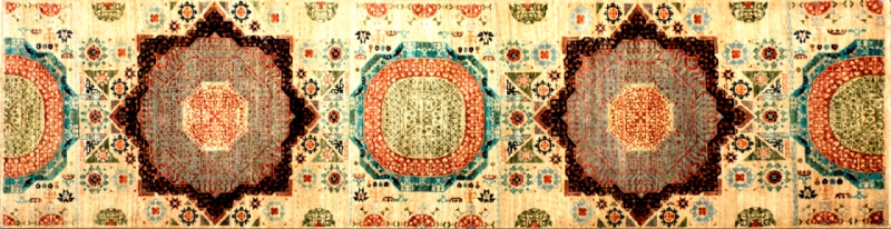 "Mamluk runner 2' 7"" by 9' 6"" rug with geometric pattern from Afghanistan"