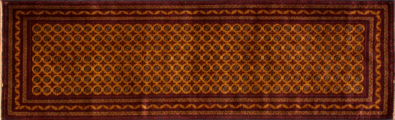 """Turkoman runner 3' 0"""" by 9' 9"""" rug with geometric pattern from Afghanistan"""