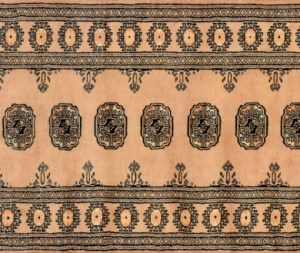 "Bokhara runner 2' 8"" by 7' 8"" rug with geometric pattern from Pakistan - Beige"