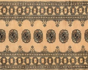 "Bokhara runner 2' 8"" by 8' 3"" rug with geometric pattern from Pakistan - Beige & Black"