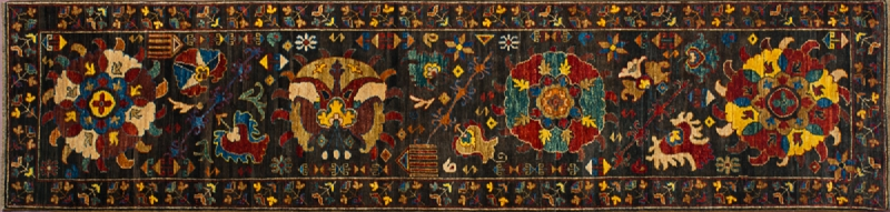 "Karabakh runner 2' 6"" by 10' 2"" rug with all-over pattern from Afghanistan"