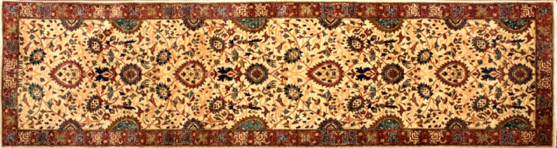 "Farahan runner 2' 9"" by 9' 8"" rug with a floral pattern made in Afghanistan with 228 knots/inch"