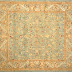"Haji Jalili square 5' 0"" by 5' 0"" rug with floral pattern from Pakistan - Light Blue & Oak"