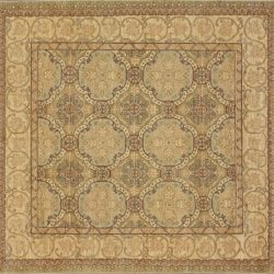 "William Morris square 6' 3"" by 6' 3"" rug with all-over pattern from Pakistan - Light Green & Ivory"