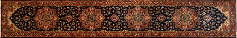 "Serapi runner 2' 6"" by 14' 3"" rug with medallion pattern from India - Navy Blue & Rust - Long"