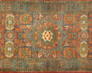 "Mamluk runner 2' 7"" by 8' 1"" rug with geometric pattern from India - Rust & Green"