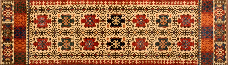 "Shirvan runner 2' 9"" by 9' 9"" rug with geometric pattern from Afghanistan"
