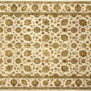 "Nain rectangular 8' 1"" by 10' 0"" rug with all-over pattern from India - Tan &Tan"