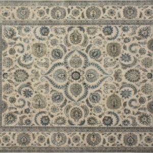 "Nain rectangular 8' 2"" by 10' 2"" rug with all-over pattern from India - Taupe & Light blue"