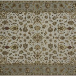 "Nain rectangular 8' 1"" by 10' 1"" rug with all-over pattern from India - Ivory & Light Green"