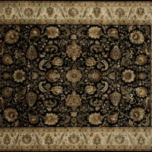 "Nain rectangular 8' 0"" by 10' 0"" rug with all-over pattern from India - Black & Tan"