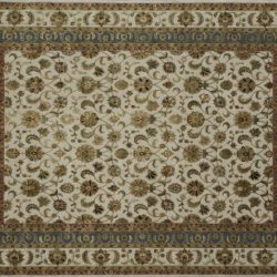 "Nain rectangular 8' 1"" by 10' 2"" rug with all-over pattern from India - Tan & Light Blue"
