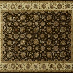 "Nain rectangular 8' 2"" by 9' 11"" rug with all-over pattern from India - Brown & Ivory"