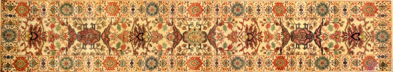 "Mahal runner 2' 5"" by 12' 3"" rug with all-over pattern from India - Beige & Rust"