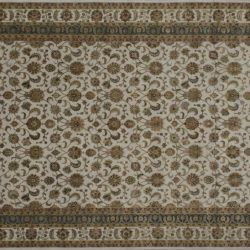 "Nain rectangular 9' 2"" by 11' 11"" rug with all-over pattern from India - Ivory & Ivory"