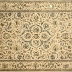 "Nain rectangular 9' 2"" by 12' 2"" rug with all-over pattern from India - Taupe & Light Blue"