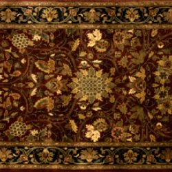 "Ziegler runner 2' 7"" by 6' 4"" rug with all-over pattern from India - Rust & Black"