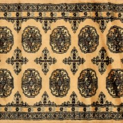 "Bokhara runner 2' 2"" by 6' 5"" rug with geometric pattern from Pakistan - Beige & Black"