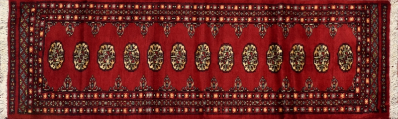 "Bokhara runner 2' 0"" by 6' 6"" rug with geometric pattern from Pakistan - Red"