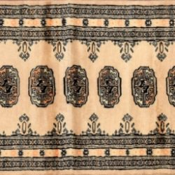 "Bokhara runner 2' 1"" by 6' 3"" rug with geometric pattern from Pakistan - Beige & Black"