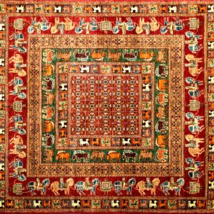 "Pazyryk square 6' 0 "" by 6' 0"" rug with geometric pattern from Afghanistan - red & green - SKU# 16736"