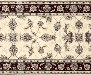 "Tabriz runner 2' 5"" by 8' 0"" rug with all-over pattern from China - Ivory & red"
