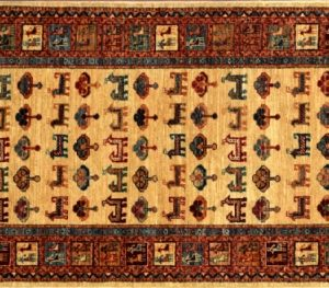 "Gabbeh runner 2' 9"" by 7' 11"" rug with tribal pattern from Afghanistan"