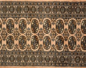 "Bokhara runner 2' 7"" by 8' 0"" rug with geometric pattern from Pakistan - Oak"