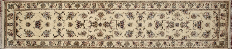 "Tabriz runner 2' 5"" by 12' 0"" rug with all-over pattern from China - Ivory & ivory"
