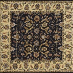 "Kashmar square 8' 0"" by 8' 0"" rug with floral pattern from India - Red & Navy blue"