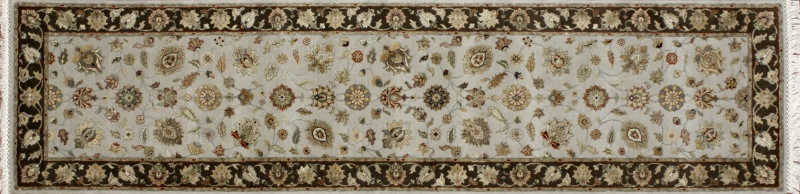"Nain runner 2' 6"" by 10' 0"" rug with all-over pattern from India - Taupe & Brown"