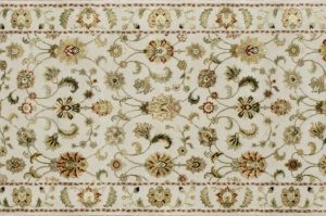 "Nain runner 2' 6"" by 10' 0"" rug with all-over pattern from India - Ivory & Ivory"