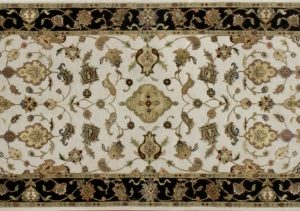"Nain runner 2' 8"" by 9' 11"" rug with all-over pattern from India - Ivory & Black"