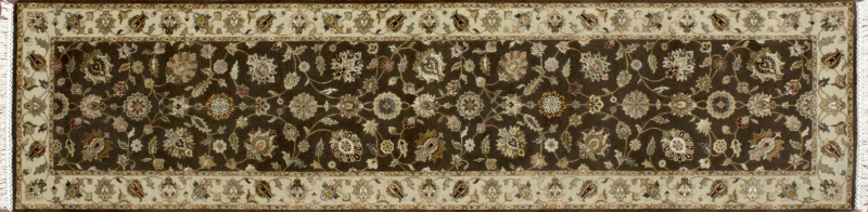 "Nain runner 2' 7"" by 10' 0"" rug with all-over pattern from India - Brown & Taupe"