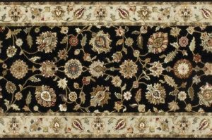 "Nain runner 2' 7"" by 10' 4"" rug with all-over pattern from India - Black & Tan"