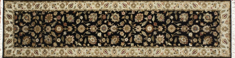 """Nain runner 2' 7"""" by 10' 4"""" rug with all-over pattern from India - Black & Tan"""
