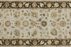 "Nain runner 2' 7"" by 10' 1"" rug with all-over pattern from India - Taupe & Brown"
